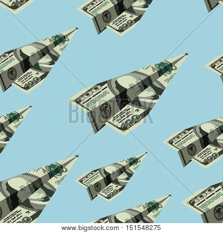 Aircraft Dollars Seamless Pattern. Money Banknote Paper Airplane Background. Financial Ornament