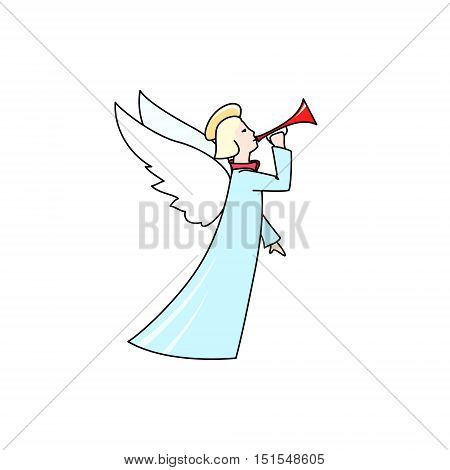 Christmas Angel Isolated on White Background, Christmas Decorations, Merry Christmas and Happy New Year, Vector Illustration