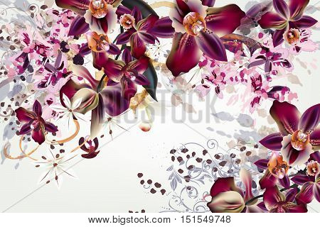 Fashion vector background with watercolor spots and realistic tropical orchid flowers
