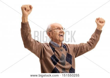 Overjoyed elderly man gesturing happiness isolated on white background