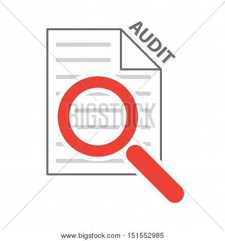 magnifying glass on checklist as process audit symbol vector illustration