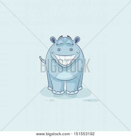 Vector Stock Illustration isolated Emoji character cartoon Hippopotamus with a huge smile from ear to ear sticker emoticon for site, info graphic, video, animation, website, mail, newsletter, report, comic