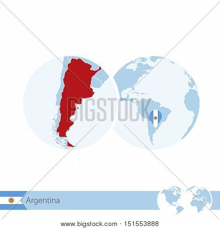 Argentina On World Globe With Flag And Regional Map Of Argentina.
