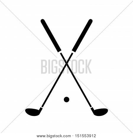 Crossed Golf Clubs Icon. A hand drawn vector illustration of crossed golf clubs and a golf ball.