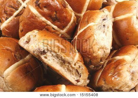 A close up of hot cross bun