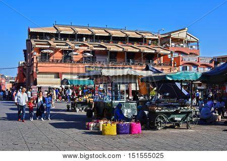 MARRAKESH MOROCCO - SEPT 22 2016: Jemaa el-Fnaa square in Medina of Marrakesh Morocco UNESCO World Heritage Site