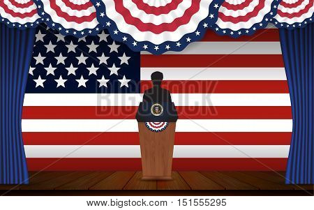 Presidential election banner background. President podium with unknown person on stage and United state of America flag design for US Presidential election 2016. Vector illustration.