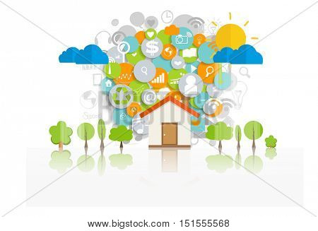 Business concept with Home and cloud of application. Vector illustration.