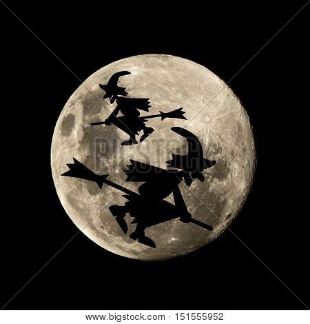 Hallowen Witch Flies In The Moon