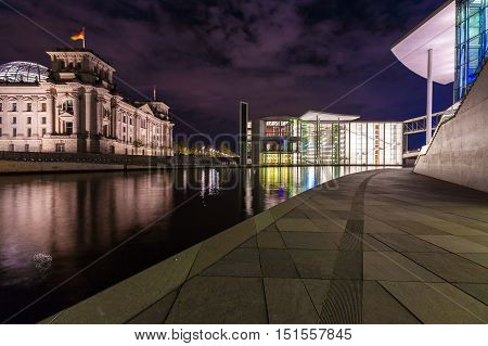 Berlin, Germany - April 2, 2008: New Glass Building Of The Reichstag At Night