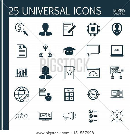 Set Of 25 Universal Icons On Graduation, Conference, Job Applicants And More Topics. Vector Icon Set