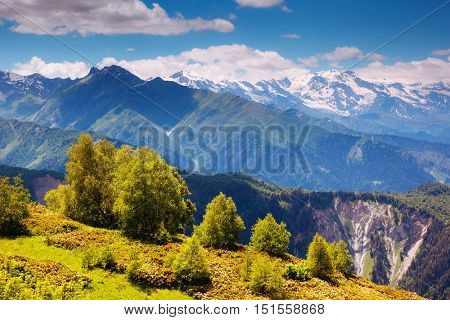 Fantastic panorama on the High Caucasus ridge in the morning light. Picturesque and gorgeous scene. Location place Svaneti, Mestia, Georgia, Europe. Artistic picture. Beauty world.