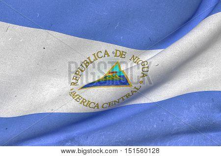 Nicaragua Republic Flag Waving
