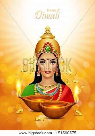 Diwali Holiday greeting card. Deepawali background with two burning diya and Lakshmi hindu goddess. Diwali festival.