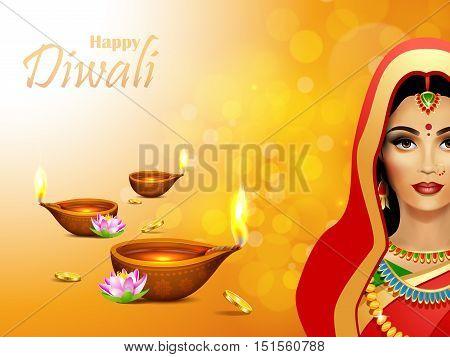 Diwali Holiday greeting card. Deepawali background with burning diya and indian woman. Diwali festival.