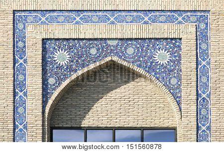 Floral decoration of an arch portal of a mosque, Uzbekistan