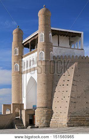 Gate of Ark fortress gate in Bukhara, Uzbekistan