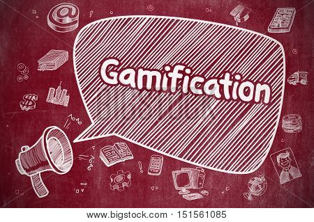 Business Concept. Loudspeaker with Text Gamification. Hand Drawn Illustration on Red Chalkboard. Gamification on Speech Bubble. Cartoon Illustration of Yelling Loudspeaker. Advertising Concept.