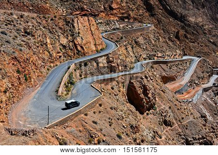 Serpentine Mountain Trail In Gorges Dades In High Atlas, Morocco