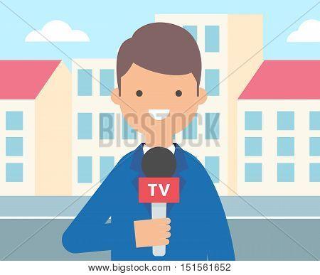 TV reporter, journalist vector illustration, live news