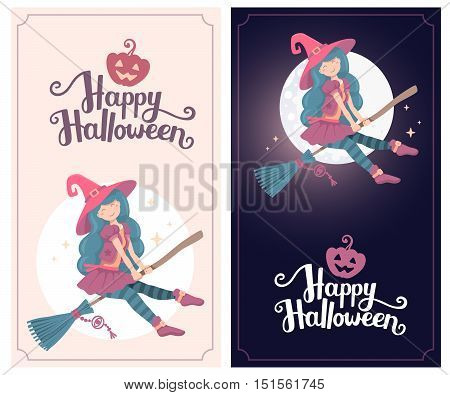 Vector Colorful Template With Halloween Illustration Of Witch Character With Hat Flying On A Broomst