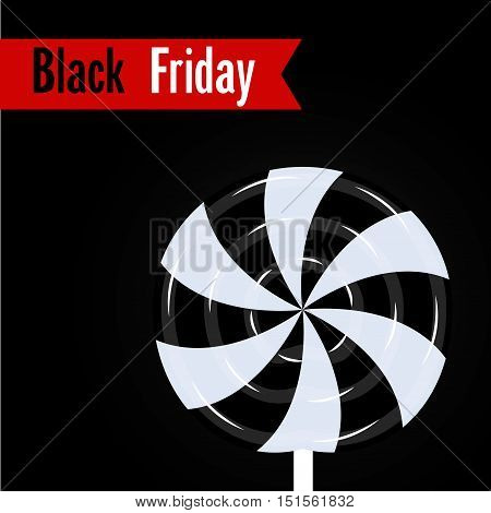 Black friday poster Vector illustration Poster template with a black-white lollipop with inscription Black Friday in the red box
