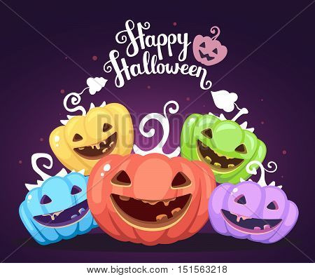 Vector Halloween Illustration Of Heap Decorative Pumpkins Of Different Colors With Eyes, Smiles, Tee