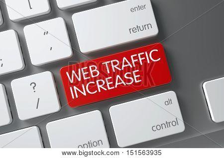 Web Traffic Increase Concept: Slim Aluminum Keyboard with Web Traffic Increase, Selected Focus on Red Enter Key. 3D Illustration.