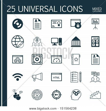Set Of 25 Universal Icons On Wireless, Certificate, Presentation And More Topics. Vector Icon Set In