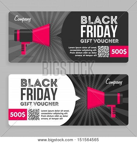 Black Friday Gift Voucher. Flat Design. Announcement Of The Award. Vector illustration