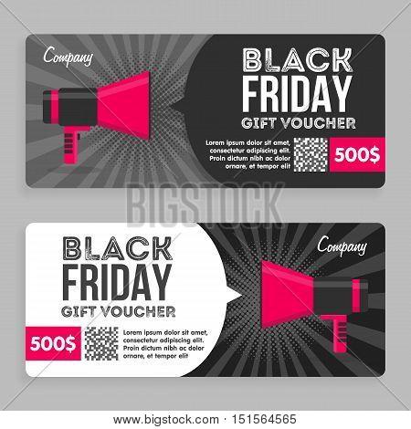 Black Friday Gift Voucher. Flat Design. Announcement Of The Award. Vector illustration