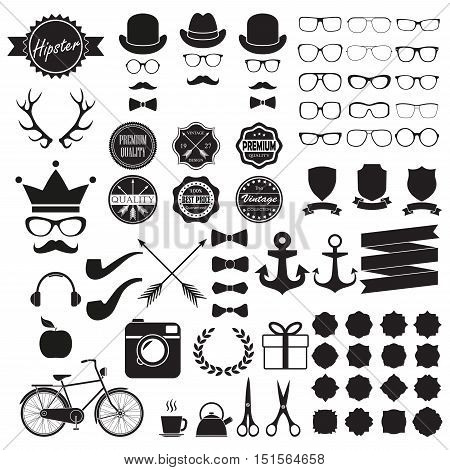 Hipster icons set. Vintage and hipster style signs collection. Retro design infographic elements: glasses, frames, labels, mustaches, arrows, ribbons. Vector illustration.