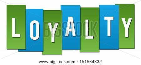 Loyalty text alphabets written over blue green background.
