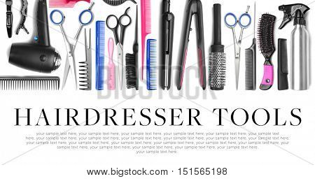 Different professional hairdresser equipment. Text HAIRDRESSER TOOLS on white background