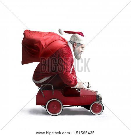 Santa Claus carrying presents