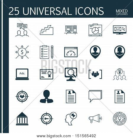 Set Of 25 Universal Icons On Media Campaign, Education Center, Curriculum Vitae And More Topics. Vec