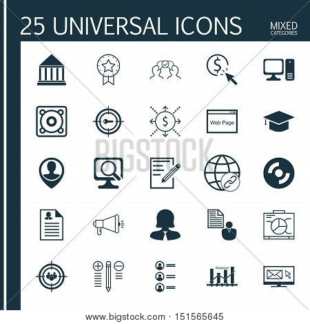 Set Of 25 Universal Icons On Graduation, Decision Making, Female Application And More Topics. Vector