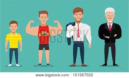 Cartoon characters showing age progress. All age group of european man. People Generations at different ages. Teenager young adult old. Flat illustration