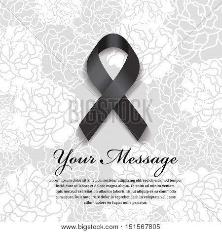 funeral card - Black ribbon and place for text on soft flower abstract background