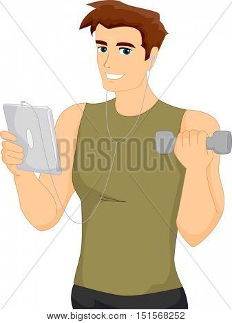 Fitness Illustration of a Muscular Man in Workout Clothes Browsing the Internet While Lifting a Dumbbell