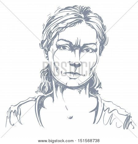 Graphic vector hand-drawn illustration of white skin angry lady with stylish haircut. People negative face expressions.