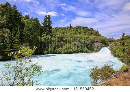 Huka Falls On The Waikato River, New Zealand.
