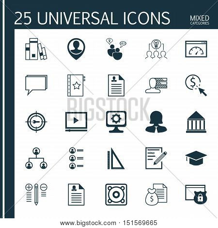 Set Of 25 Universal Icons On Warranty, Job Applicants, Video Player And More Topics. Vector Icon Set Including Loading Speed, Security, Job Applicants And Other Icons.