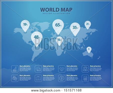 Modern world map with pins graphic design. International world map layout. Global map creative concept. Vector infographic