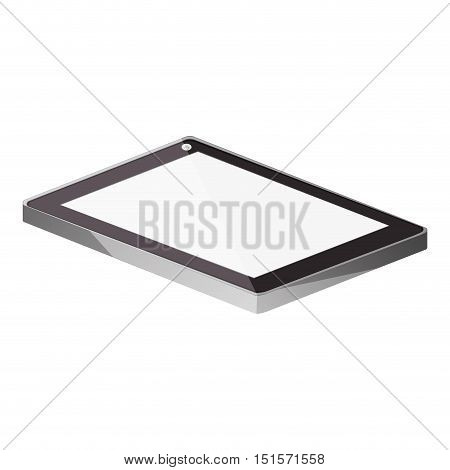 tech touch tablet camera front lying down vector illustration