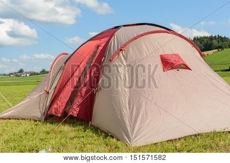 Tense tent in a quiet landscape for a relaxing holiday -