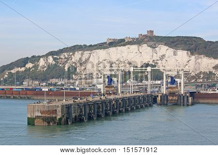 breakwater of Dover harbour with the White Cliffs