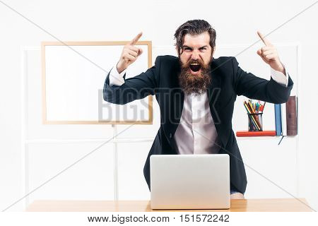 Businessman Lifting Fingers Up