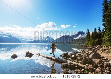 Hike to turquoise waters of picturesque Garibaldi Lake near Whistler, BC, Canada. Very popular hike destination in British Columbia. poster
