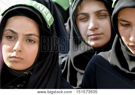 Istanbul Turkey - October 11 2016: Day of Ashura Mourning ceremony in Turkey. Caferis take part in a mourning procession marking the day of Ashura in Istanbul's Halkali region Turkey on October 11 2016.